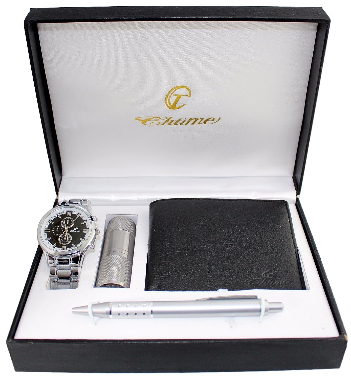 Top Confezione regalo: orologio da uomo + portafoglio + penna + torcia  AB47