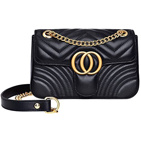 2da830a070c3 Buy Fashion Shoulder Bags for Women Quilted Leather Purse Handbags Chain  Crossbody Bag - Black + White by Chrysansmile Online at Low Prices in India  ...