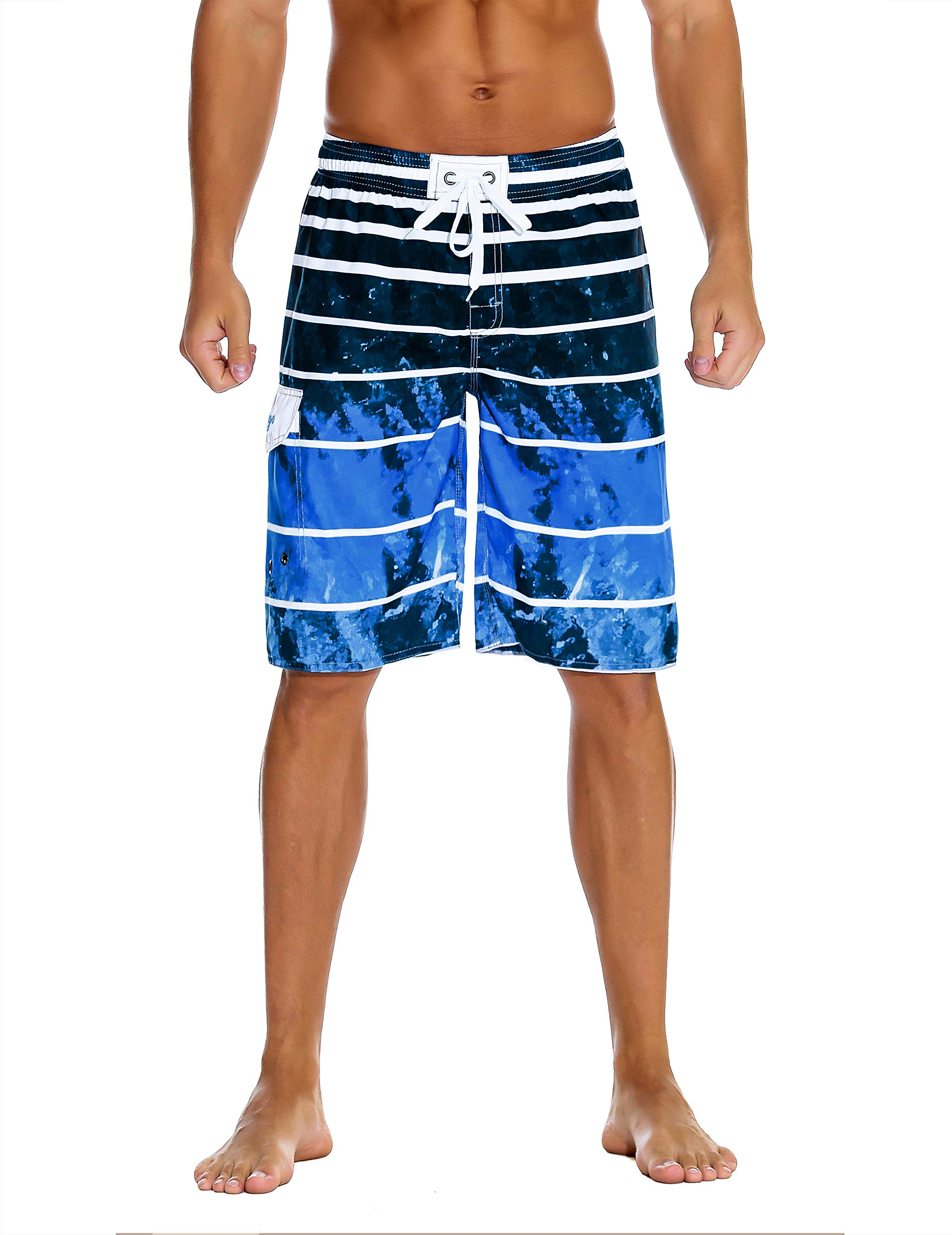 Hopgo Men's Swim Trunks 22'' Quick Dry Beach Shorts Boardshorts Drawstring Tie-dye Blue 40