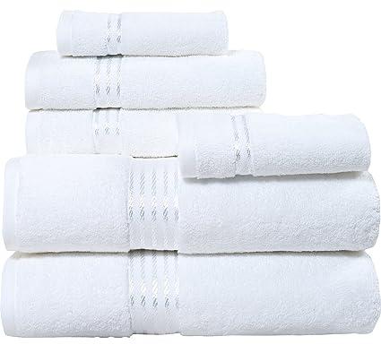 Blanco de color 6 piezas Juego de toallas de algodón egipcio
