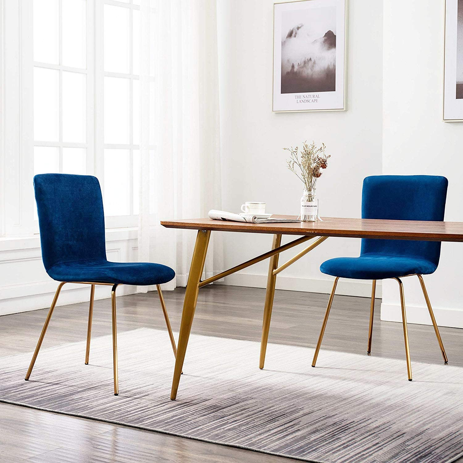 Art-Leon Mid-Century Modern Velvet Fabric Dining Chairs Set of 2 with Golden Legs and Floor Protector (Royal Blue)