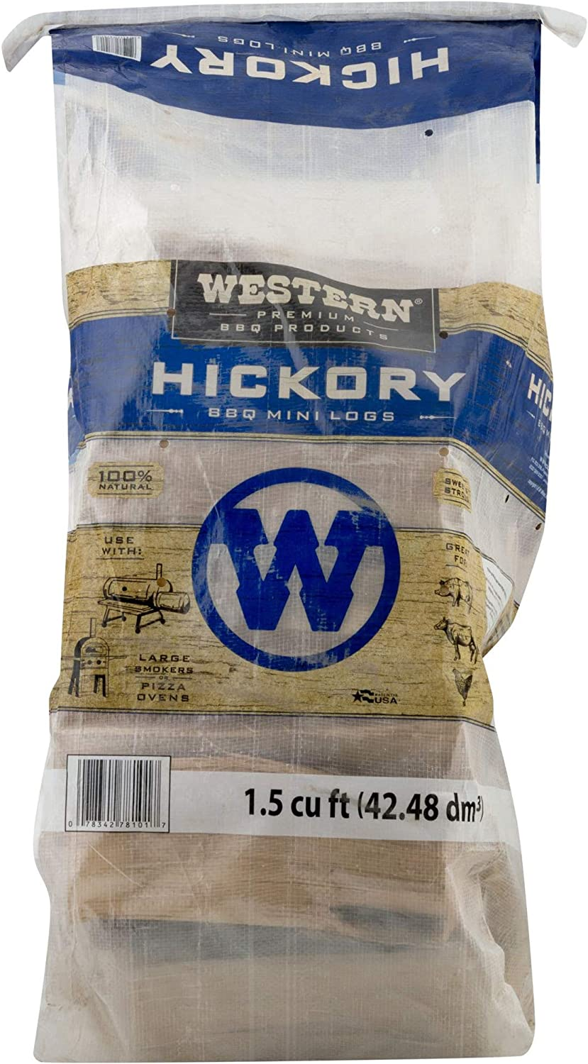 Western Premium BBQ Kiln Dried Hickory Wood Mini Logs with Robust Flavor for Barbecue Smokers or Grills, 1.5 Cubic Feet : Garden & Outdoor