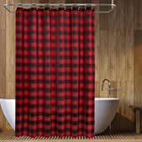 Barossa Design Buffalo Check Shower Curtain: Cotton Blend Plaid Woven Texture & Machine Washable, Water-Repellent…