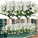 HAPLIA 8 Bundles Artificial Flowers, Fake Artificial Greenery UV Resistant No Fade Faux Plastic Plants for Wedding Bridle Bou