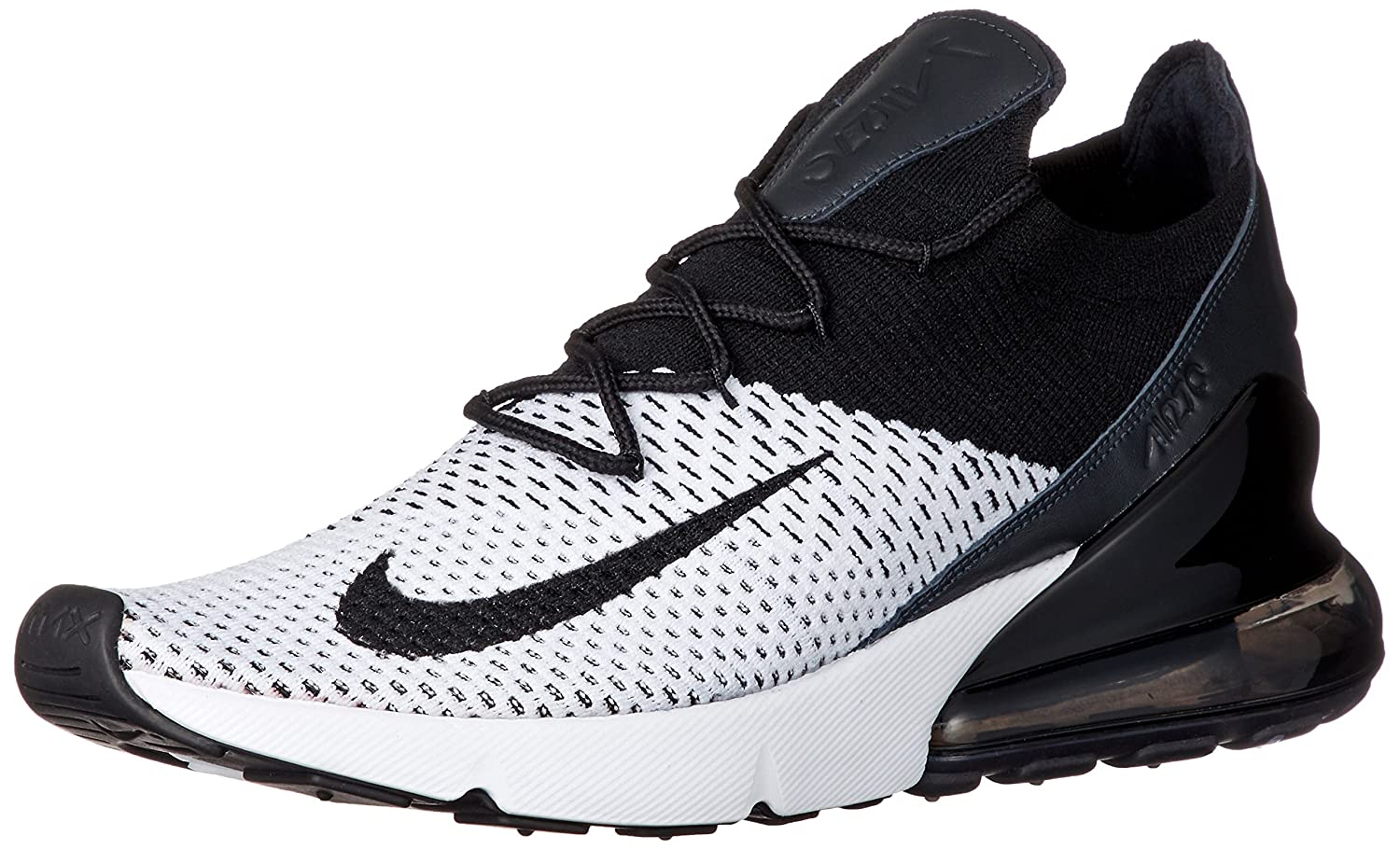 NIKE Men's Air Max 270 Flyknit Nylon Basketball Shoes B07D5N3B7R 11.5 D(M) US|White/Black-anthracite