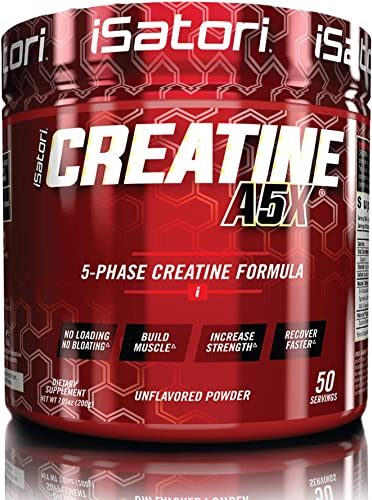 iSatori Creatine A5X Advanced 5-Phase Creatine Powder For Muscle Growth, Strength Buidling And Improved Recovery – Dietary Supplement For Training And Weight Lifting – Unflavored – 50 Servings