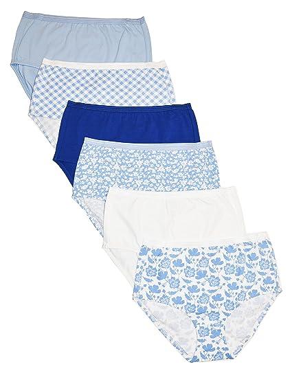dfd9b9476e Cherokee Women's 6 Piece Ladies Cotton Stretch Brief Underwear,  White/Blue/Print S