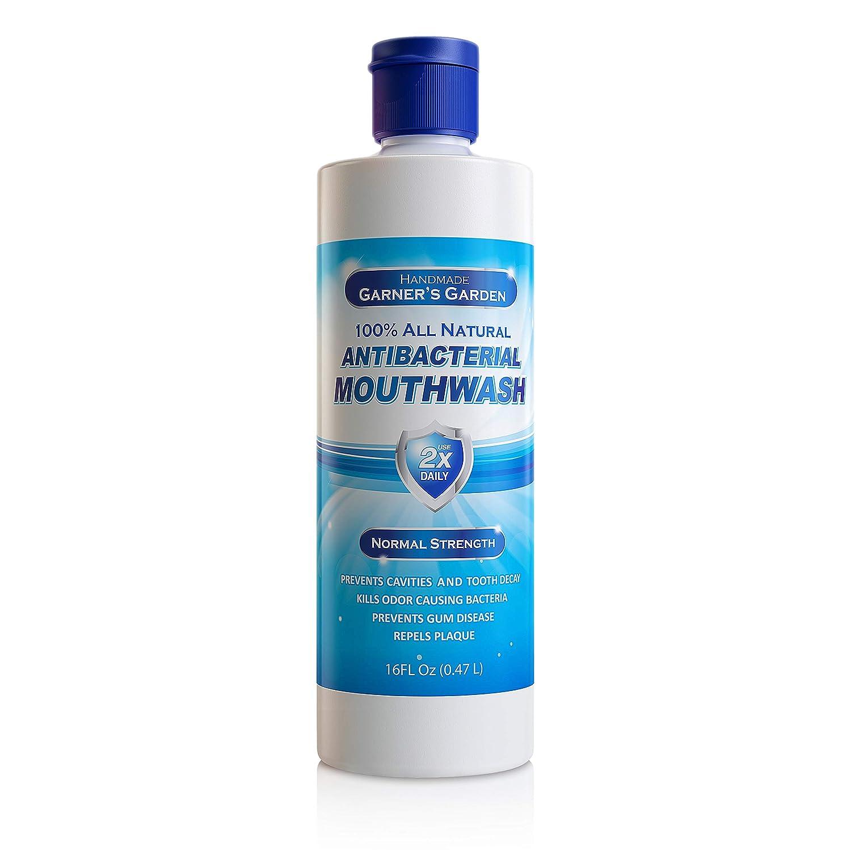 Garner's Garden Natural Mouthwash Peppermint Regular Strength 16 oz, Flouride Free, Antibacterial Mouthwash, To Prevent Cavities, Bad Breath, Plaque Build-Up and Gum Disease