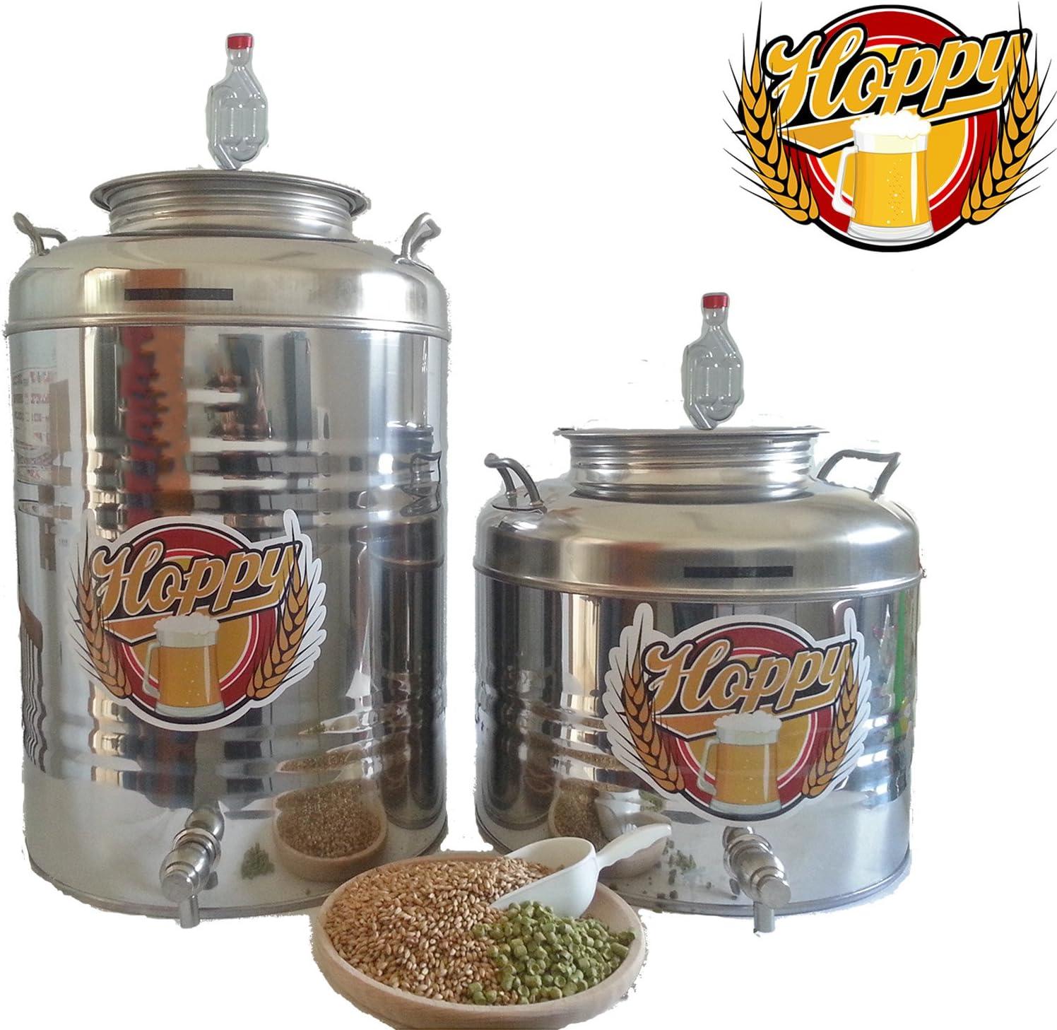 Hoppy Doppio Fermentatore completo da 30 Litri in Acciaio Inox Ermetico al 100/% ideale per Birra Vino o Altro