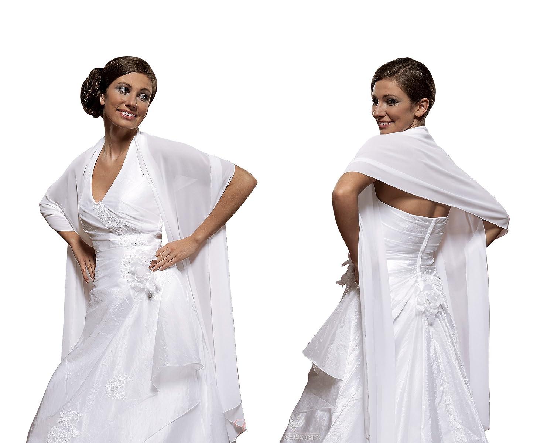 Braut Schal Brautkleid Chiffon - E9 (ivory): Amazon.de: Bekleidung