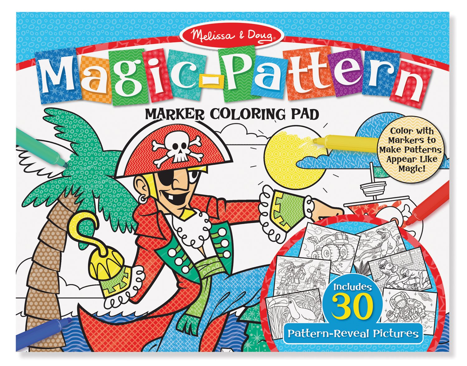 amazoncom melissa doug magic pattern marker kids coloring pad pirates sports castles and more melissa doug toys games - Magic Marker Coloring Book