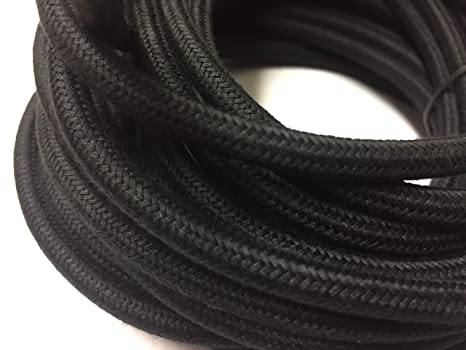 Black Round Wire, 25' Cotton Cloth Covered 18/2 Electrical Wire, Round on