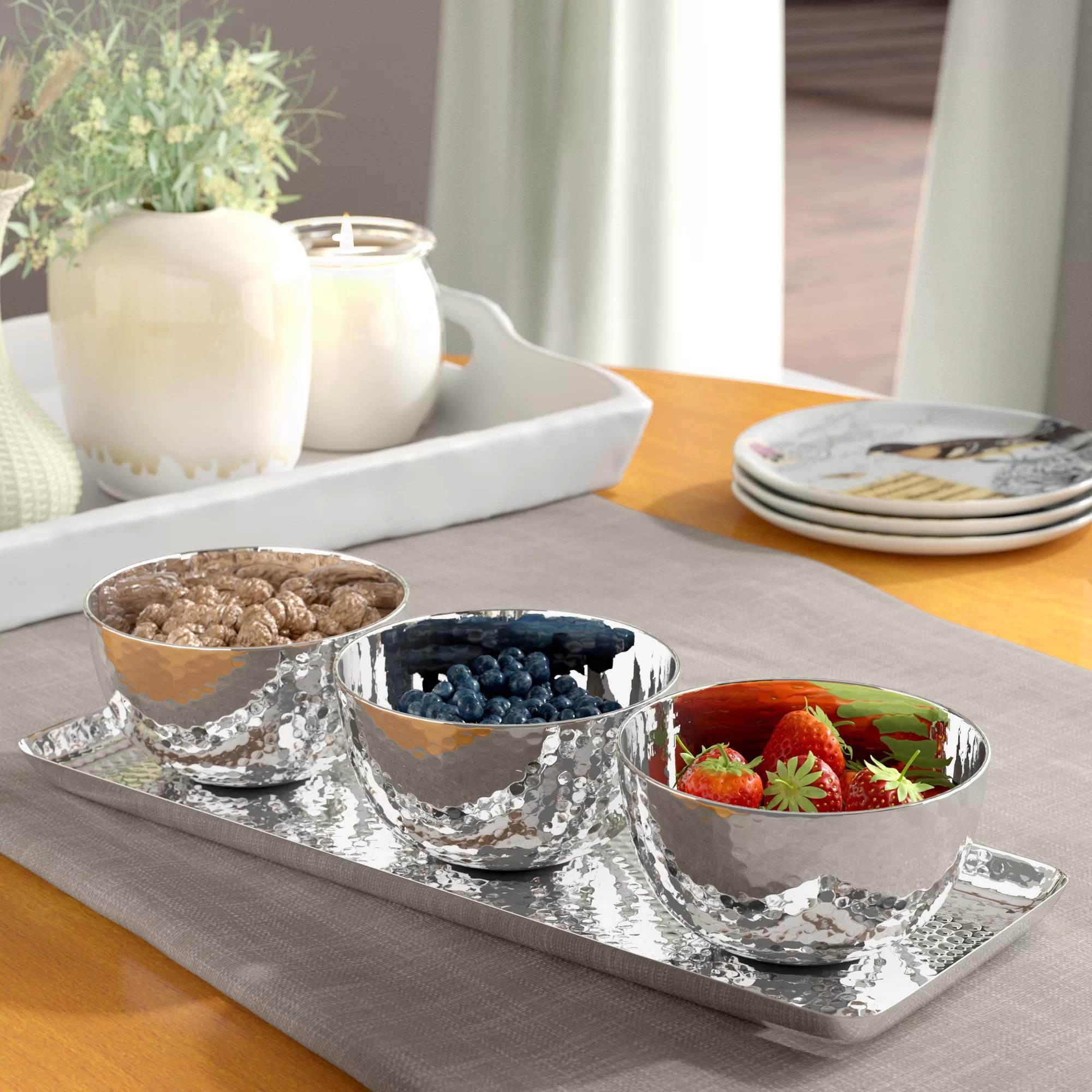 Relish Tray with Serving Bowls 4-piece Set, Hammered Condiment Server for Appetizers, Candy, Nuts and Dips, Elegant Stainless Steel Serveware Set