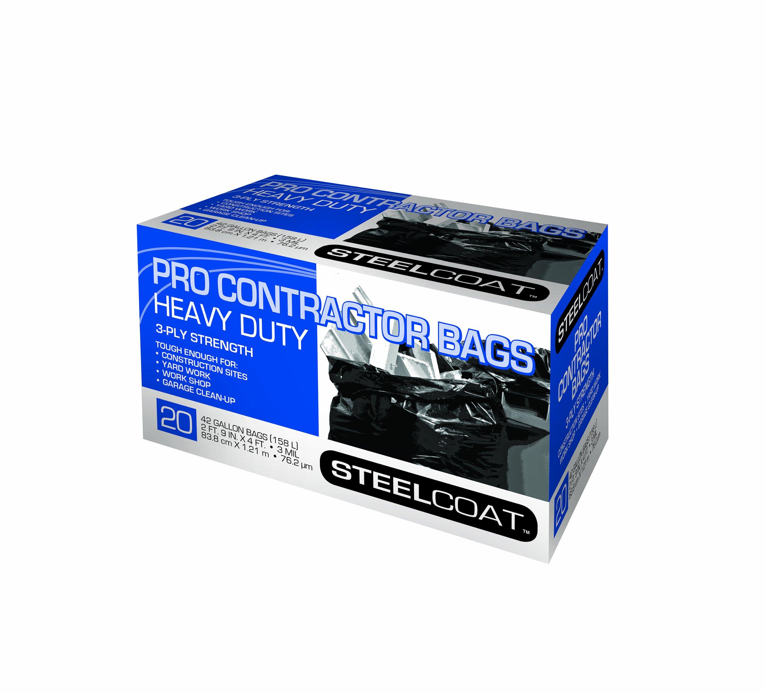 Petoskey Plastics 94105 Steelcoat Heavy Duty Pro Contractor Trash Bags, 42-Gallon, Black, 20-Pack by Petoskey Plastics
