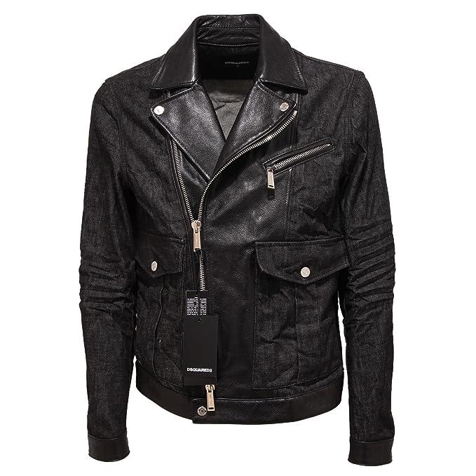 9831Q giubbotto uomo DSQUARED2 D2 chiodo jeans pelle jacket men  50    Amazon.it  Abbigliamento b55f86956c1