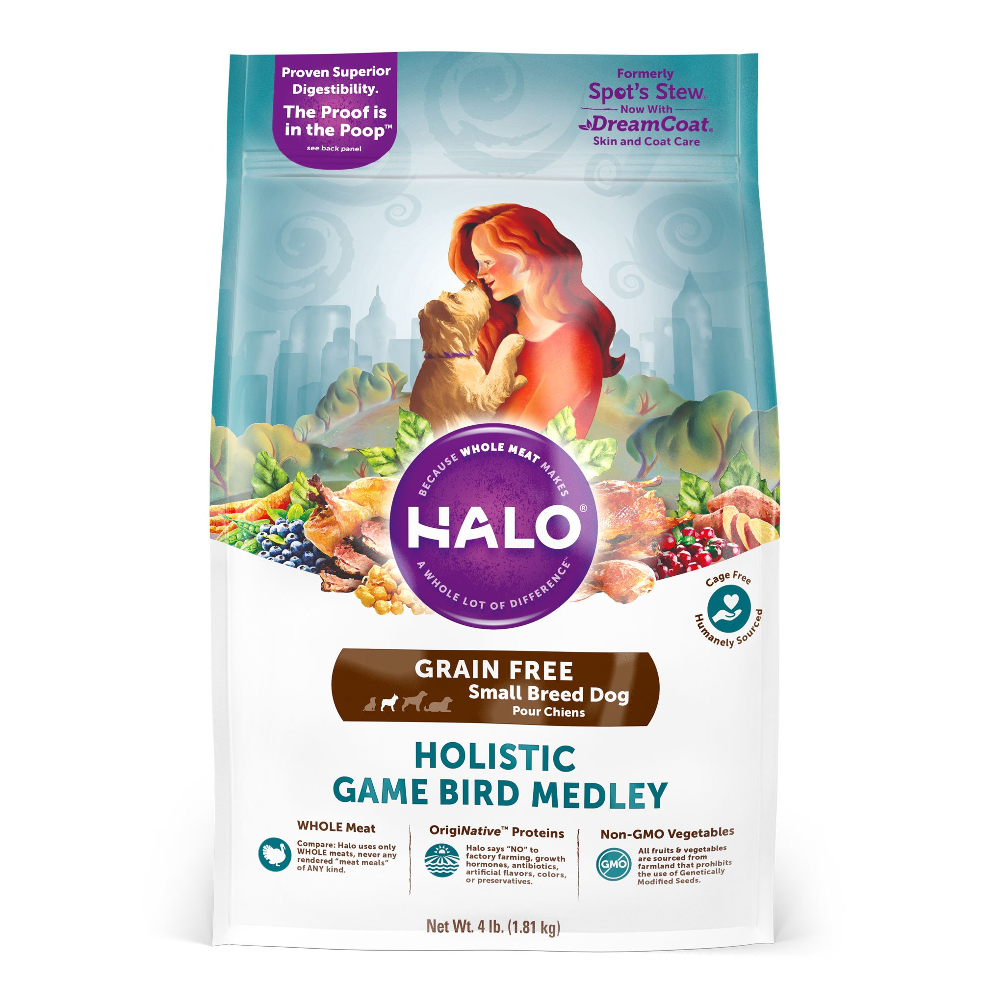 Halo Grain Free Natural Dry Dog Food, Small Breed Game Bird Medley, 4-Pound Bag by Halo, Purely For Pets (Image #1)