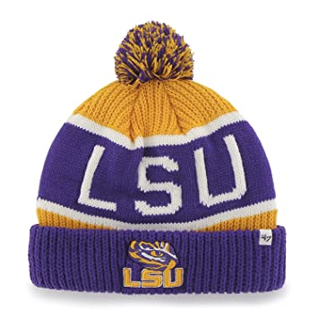 5bc41f3ef0a71  47 Brand  47 LSU Tigers Purple Cuff Calgary Beanie Hat with Pom - NCAA