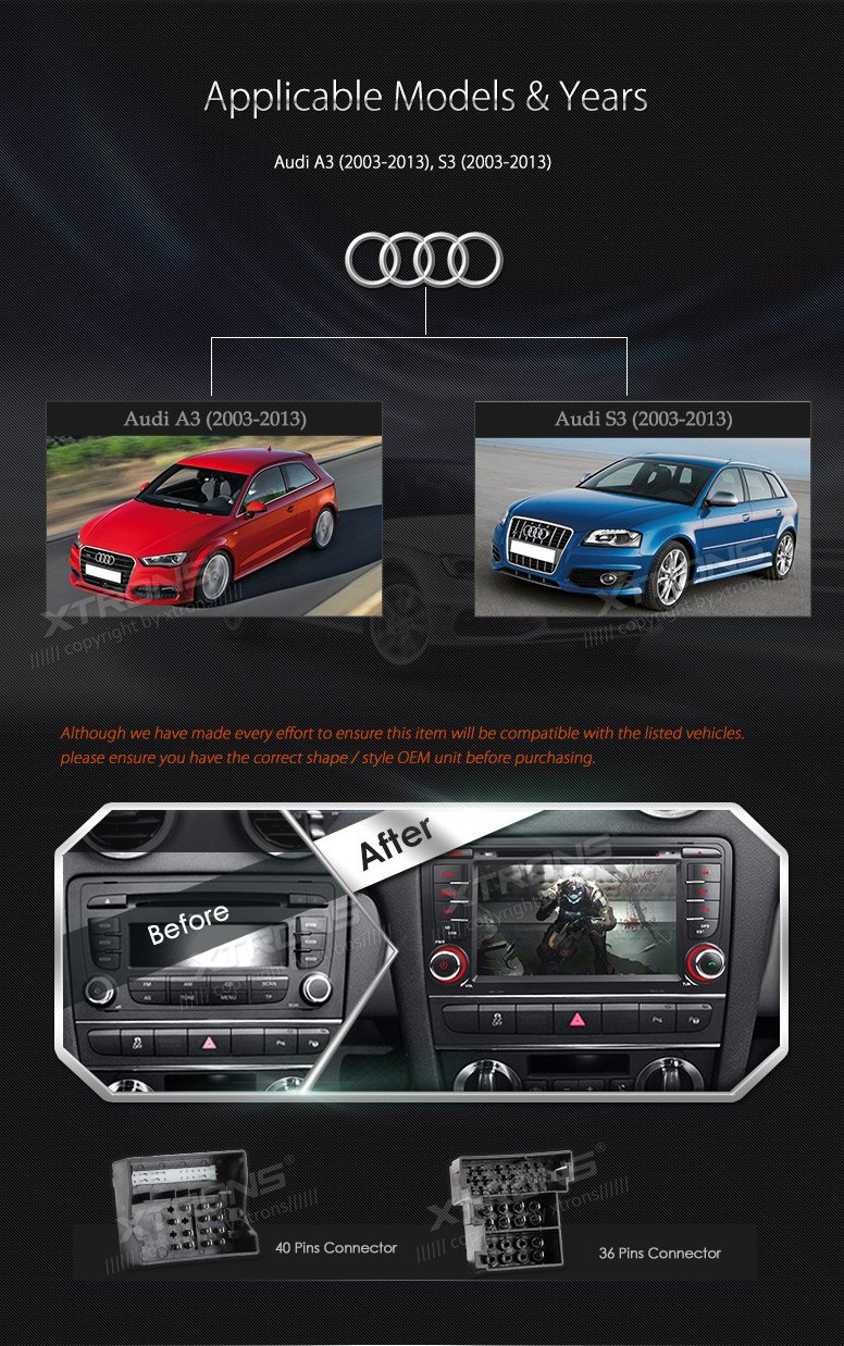 XTRONS 7 Inch HD Digital Touch Screen Car Stereo In-Dash DVD Player with GPS Navigation Dual Channel CANbus Screen Mirroring Function for Audi A3 S3 Kudos Map Card Included by XTRONS (Image #3)