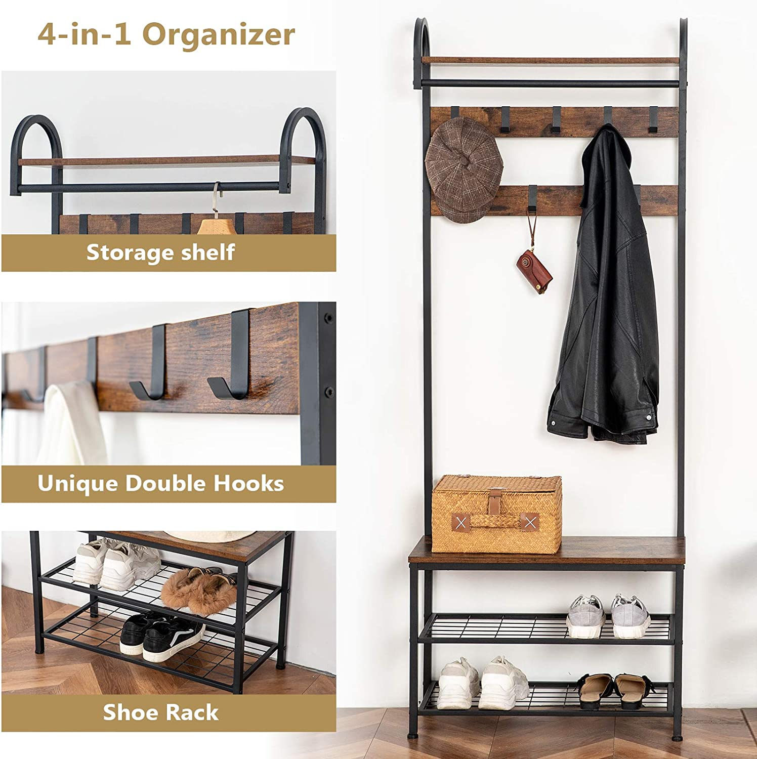 HOOBRO Coat Rack Shoe Bench, Industrial Hall Tree with Storage Shelf, Entryway Storage Organizer, 4 in 1 Design, Accent Furniture with Metal Frame, Easy Assembly, Rustic Brown BF13MT01: Home Improvement