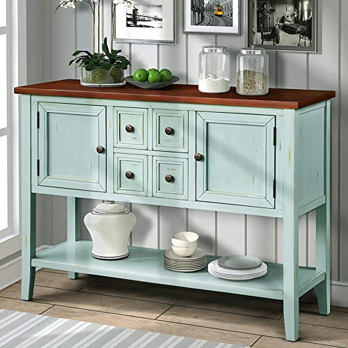 P PURLOVE Console Table Buffet Sideboard Sofa Table with Storage Drawers Cabinets and Bottom Shelf Antique Blue
