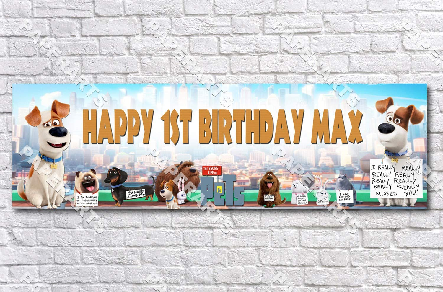 Personalized//Customized The Secret Life of Pets Name Poster Wall Art Banner