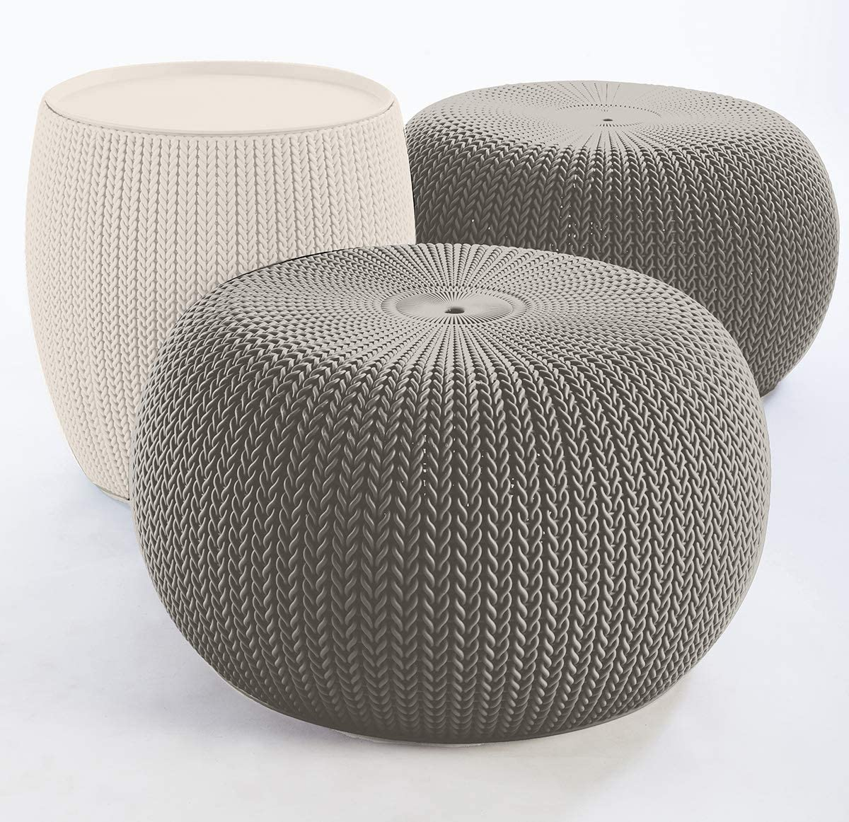 KETER Urban Knit Pouf Ottoman Set of 2 with Storage Table for Patio and Room Décor-Perfect for Balcony, Deck, and Outdoor Seating, Cream & Taupe : Garden & Outdoor