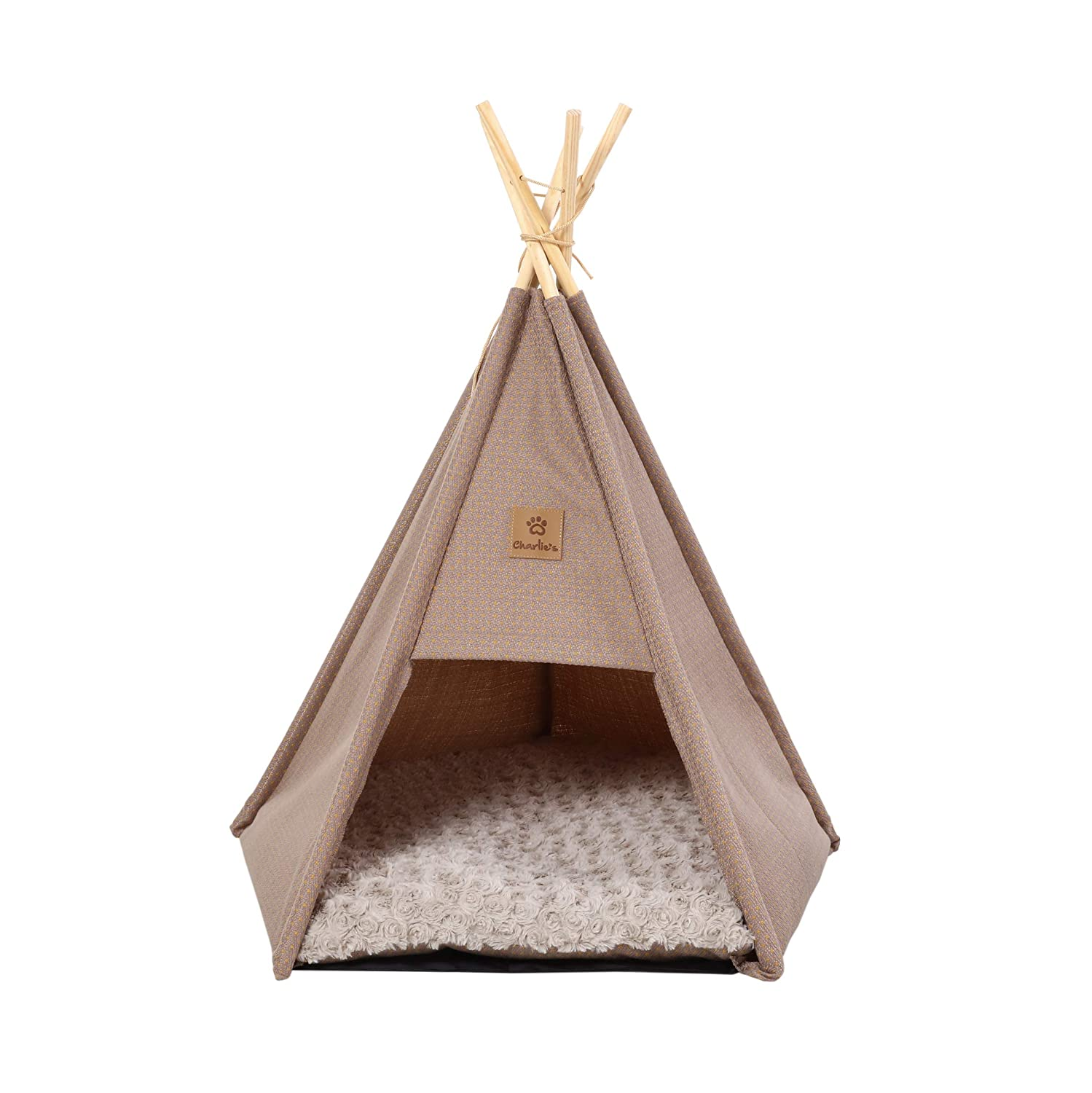 Pet Tent Bed Tipi Design con cuscino di lana per gatti e cani Questo pino naturale invernale Pet Ten Large (68 x 65 x 78cm) Brown