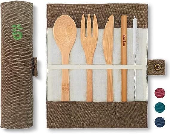 Cubierto de bambú   Cubiertos madera ecológicos  Utensilios madera   Set para picnic   Set cubiertos para camping   Cucharada, tenedor, cuchillo, ...