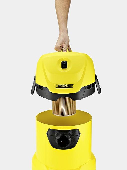 Kärcher MV 3 Aspirador Sin Bolsa Multiuso, Boquilla para Aspiración Seco Y Húmedo, 220-240 V, 1000 W, 17 litros, 73 Decibelios, Corriente sin control de encendido, Plástico, Negro-Amarillo, Antiguo: Amazon.es: Hogar