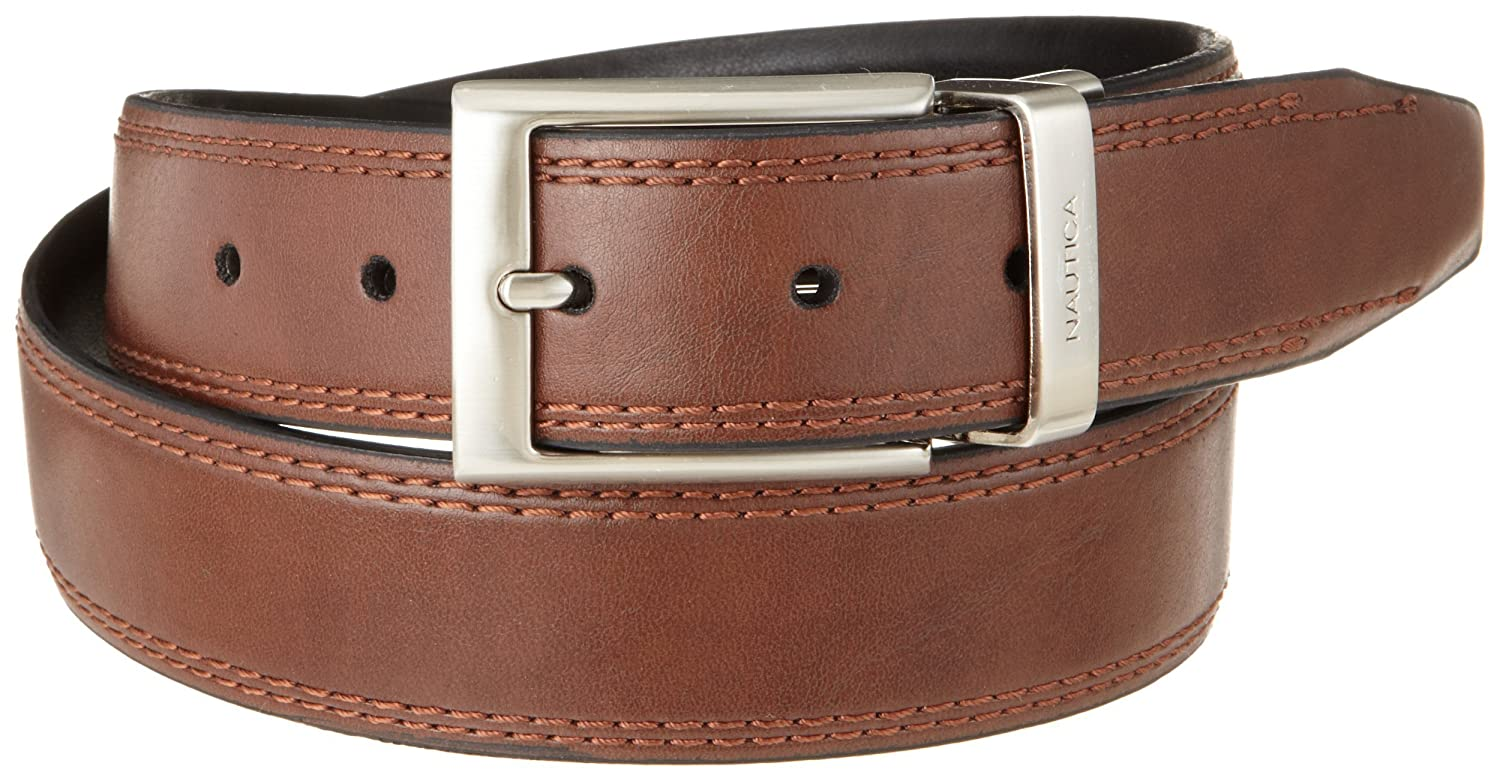Nautica Men/'s 1 3//8 in Saddle-leather Reversible Belt