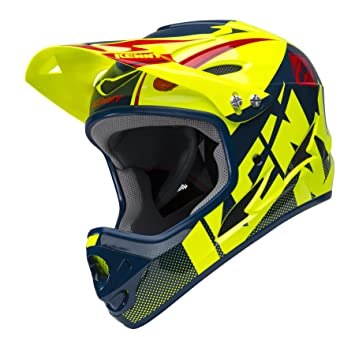 KENNY Downhill Casco Mixta, Color Jaune Fluo/Marine, tamaño M