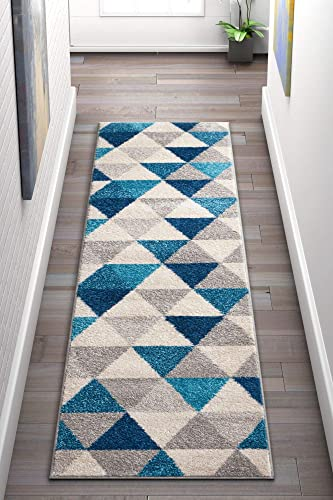 Well Woven Isometry Blue Grey Modern Geometric Triangle Pattern 2 x 7 2 x 7 3 Runner Area Rug Soft Shed Free Easy to Clean Stain Resistant