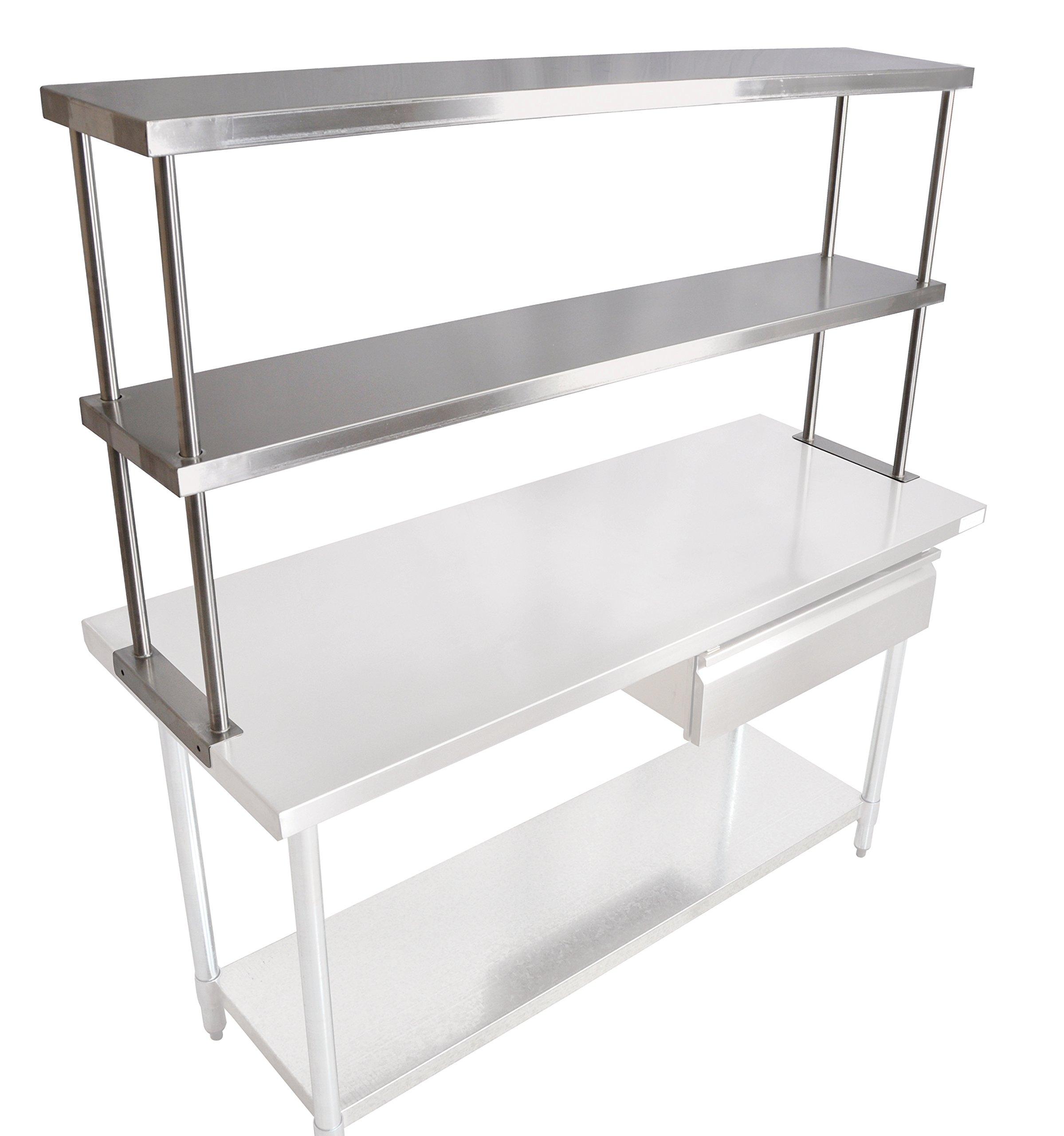 John Boos OS-ED-1260 Stainless Steel 430 Economy Double Overshelf, 60'' Length x 12'' Width