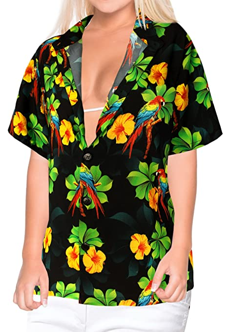 49914b3a45c2 LA LEELA Women s Summer Beach Button Down Short Sleeve Camp Casual Blouse  Floral Black at Amazon Women s Clothing store