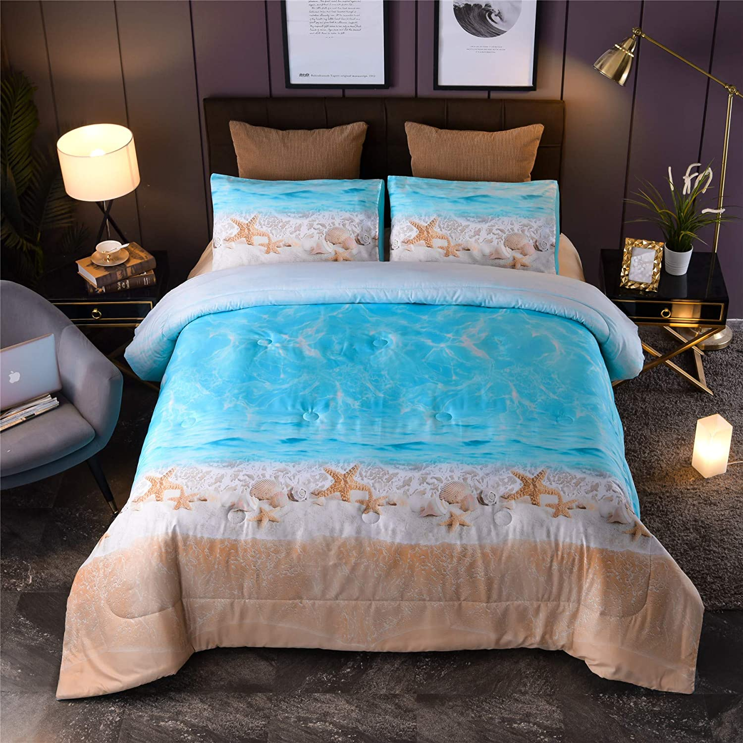 A Nice Night Boho Bohemian Comforter Set, Sand Star Ocean Beach Printed, Soft Microfiber Queen Bedding Set (Boho-Sand)