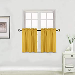 Faux Silk Blackout Curtains - 2-Panel Sets of 30x36 Room Darkening Black Out Curtains for Bedroom - Durable Thermal Insulated, Sun and Sound Blocking Dark Window Curtain - (FS3, 36
