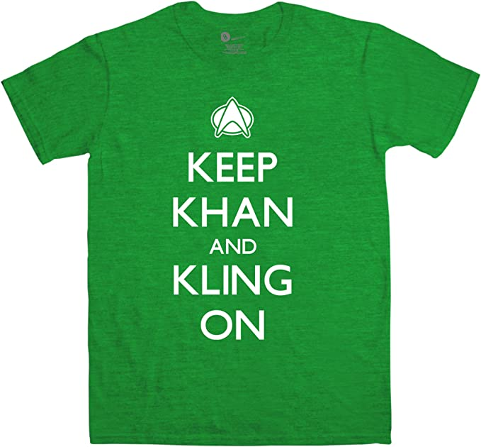 Hombre Star Trek Inspired Camiseta - Keep Khan And Kling On - Antique Kelly Green - Small: Amazon.es: Ropa y accesorios