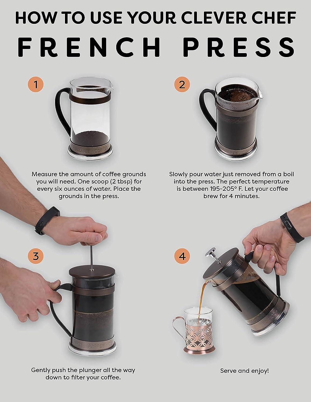 0,4 litros Caf/é con un Gran Sabor y una filtraci/ón inmejorable Capacidad para 2 Tazas Peque/ña Cobre Clever Chef Cafetera de Prensa Francesa