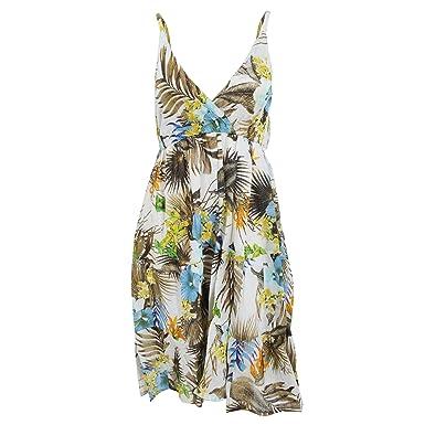 9473f707df15 Universal Textiles Womens Ladies Tropical Print Strappy Crossover Summer  Dress (Medium) (Cream