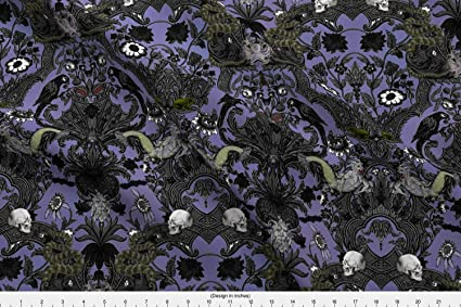 a298da2d5f Color: Spoonflower Haunted Fabric This is Halloween! Haunted House Damask ~  Decaying Mansion by Peacoquettedesigns Printed