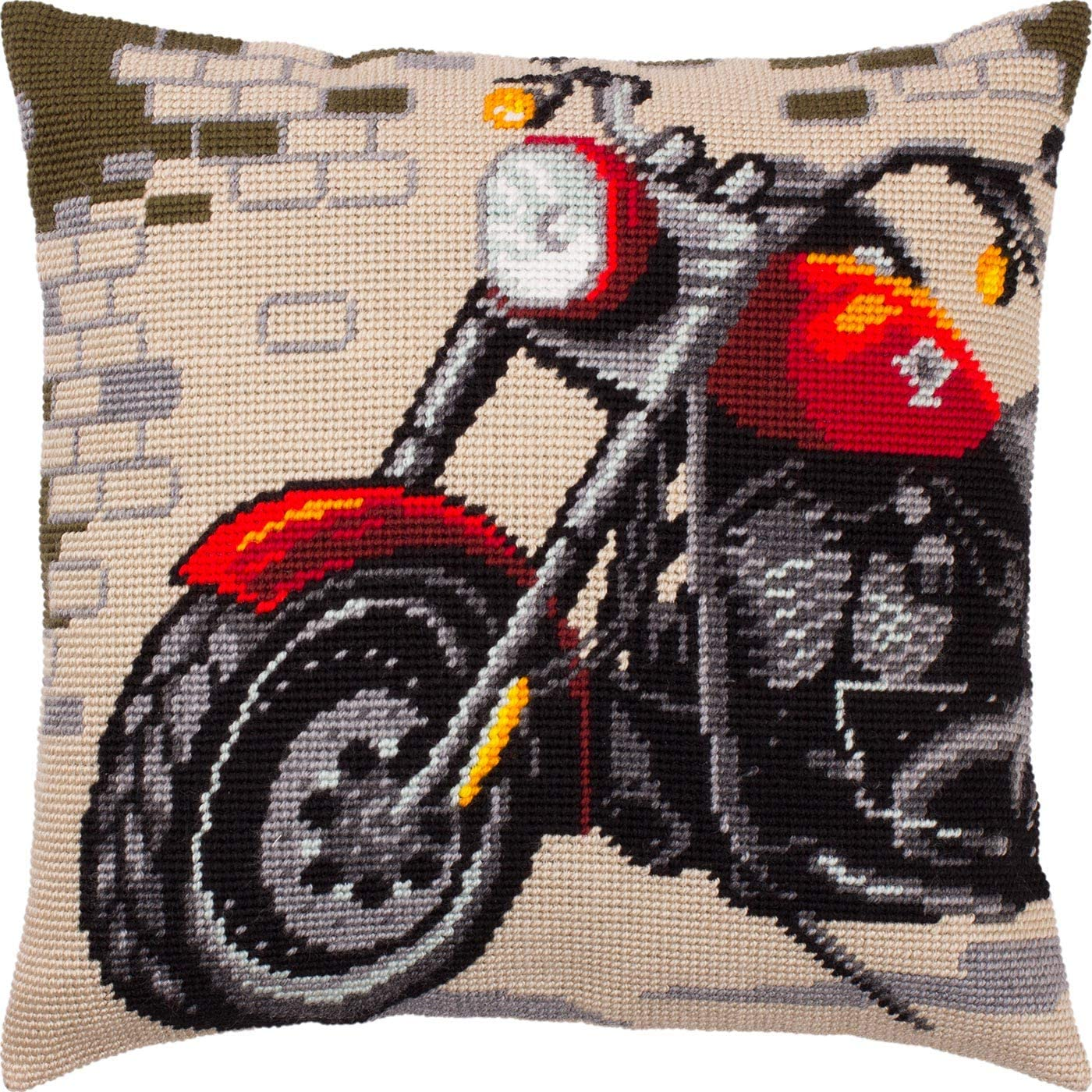 Motorcycle European Quality Needlepoint Kit Printed Tapestry Canvas Throw Pillow 16/×16 Inches