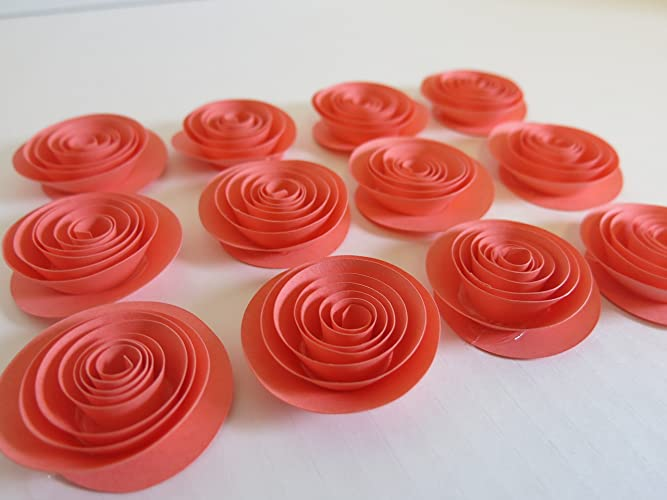 Amazon coral paper flowers set of 12 15 roses salmon coral paper flowers set of 12 15quot roses salmon wedding decorations bridal mightylinksfo