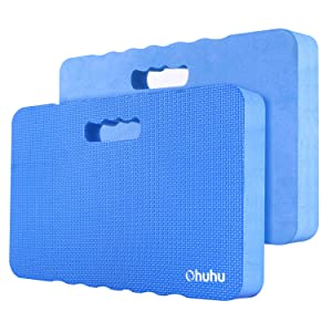 Premium Thick Kneeling Pad, Ohuhu 2-Pack Large Comfy Foam Gardening Knee Pad Kneeling Mat with 2 Different Surfaces, Extra Thick Cushion Floor Kneeler for Gardening, Exercise, Cleaning, 17x11x1.5 Inch