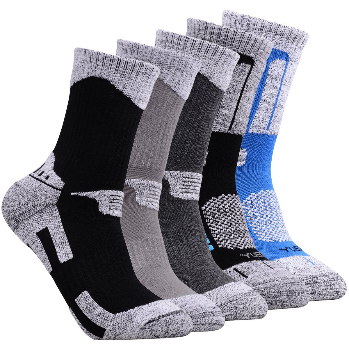 YUEDGE Men's 5 Pairs Wicking Cushion Outdoor Multi Performance Hiking Socks hm18055pca