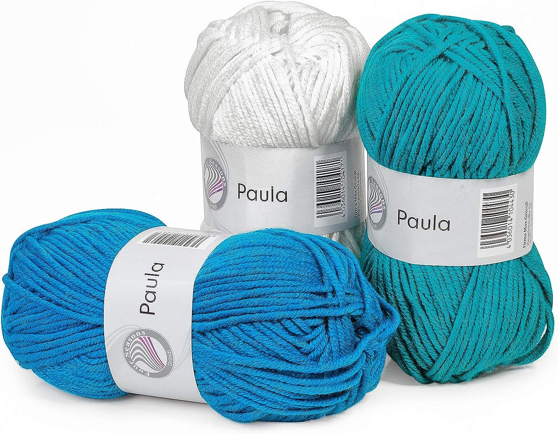 Paquet /éco laine /« Paula /» couleur Atlantic, set de 3 pelotes