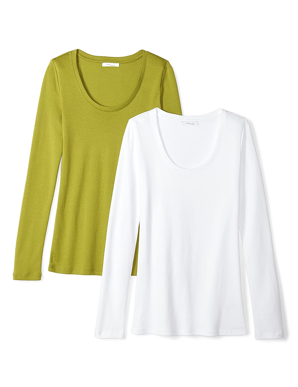 Daily Ritual Womens Standard Midweight 100% Supima Cotton Rib Knit Long-Sleeve Scoop Neck T-Shirt AZ070