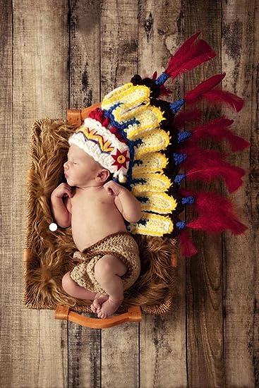 Jastore ® Foto Fotografie Prop Baby Kostüm Nette Indianer häkel ...