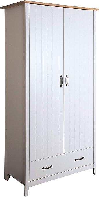 Amazon De Pkline Kleiderschrank Nord Schlafzimmer Schrank 2 Turen Drehturenschrank Kiefer Grau