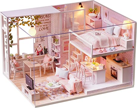 1//24 DIY Project Dollhouse Villa Wooden Furniture Room Model Toys Gifts