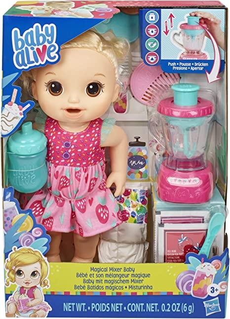Amazon Com Baby Alive Magical Mixer Baby Doll Strawberry Shake With Blender Accessories Drinks Wets Eats Blonde Hair Toy For Kids Ages 3 And Up Toys Games